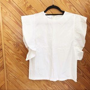 CO White Ruffle Sleeve Cotton Poplin Top
